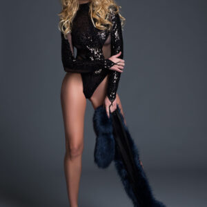 Allure A1022 glamorous sequins & sheer body suit