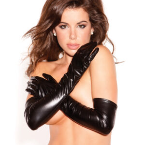 Kitten Wet Look Sexy Seduction Gloves Black O/S AK8012-BK-OS