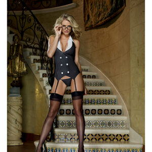 Dreamgirl 3 Piece Working Late Pinstripe Roleplay Costume Set