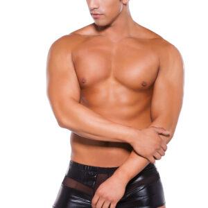 Allure Men's Wet Look 33-5602Z Peek a Boo Shorts