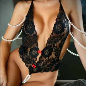 Fantasy Lingerie Vixen I Kissed a Pearl Crotchless Pearl Teddy V739