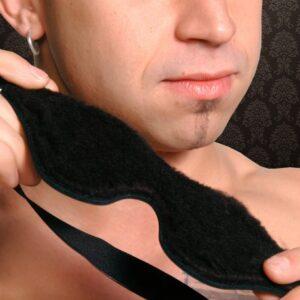 Strict Leather Black Fleece Lined Blindfold ST421