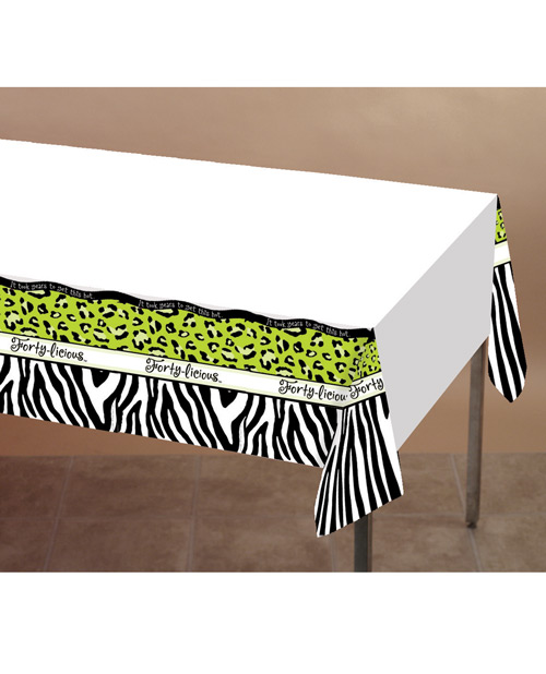 """Forty-licious Plastic Tablecover w/Border Print - 54"""" x 108"""""""