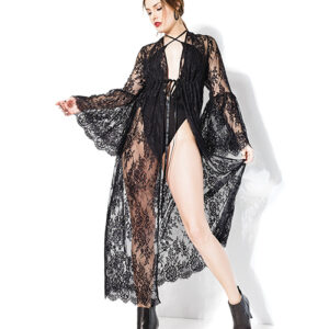 Darque Long Bell Sleeve Robe Black O/S CDQ20208-BK-OS