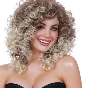 Dreamgirl Long Curly Dark Root Adjustable Wig - Light Brown