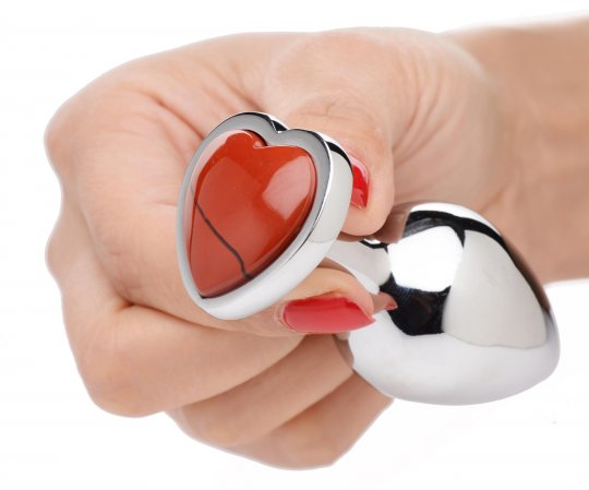 Booty Sparks Authentic Red Jasper Gemstone Heart Anal Plug - Medium AG754-Med