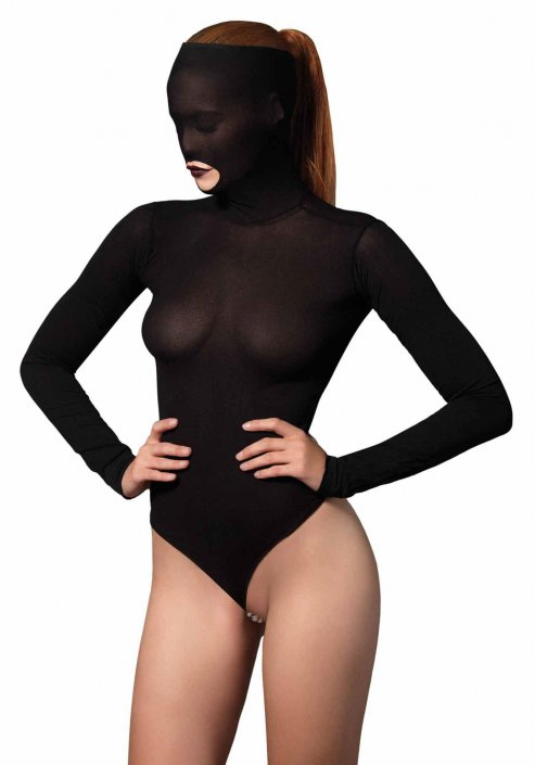 Leg Avenue Opaque Masked Teddy with Beaded G-String AG812